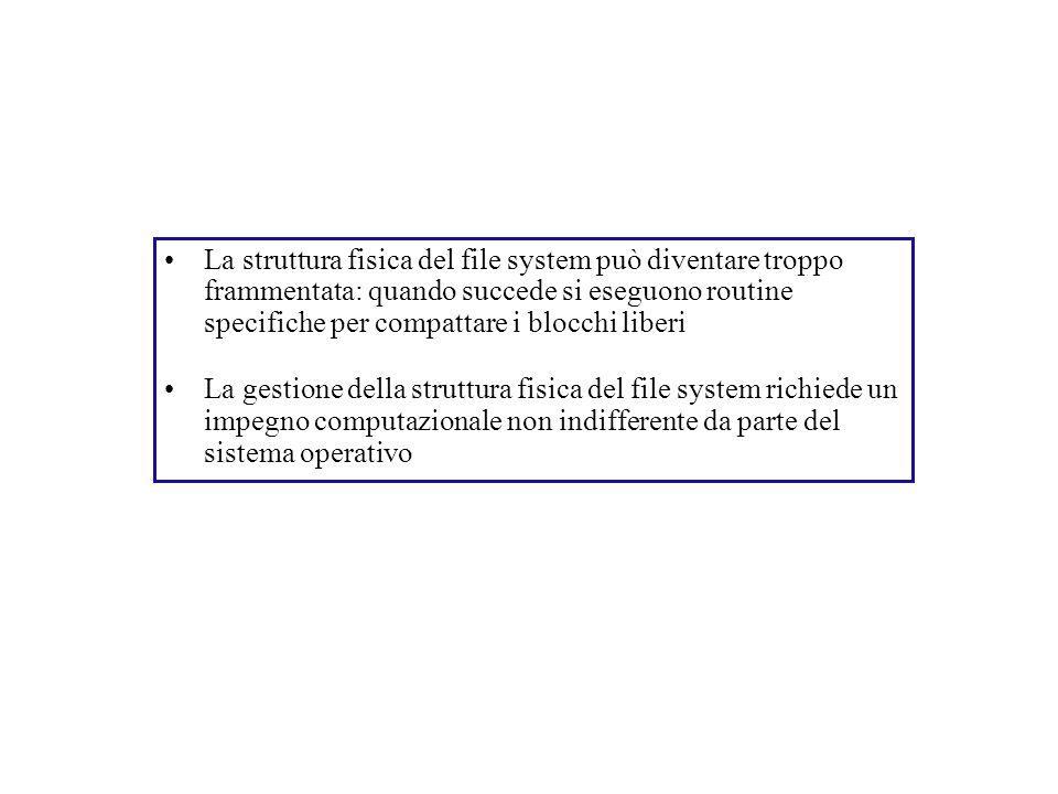 La struttura fisica del file system può diventare troppo frammentata: quando succede si eseguono routine specifiche per compattare i blocchi liberi