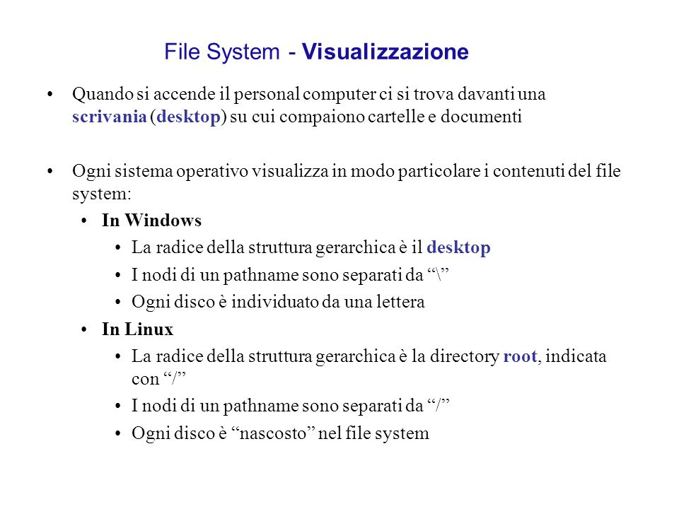 File System - Visualizzazione