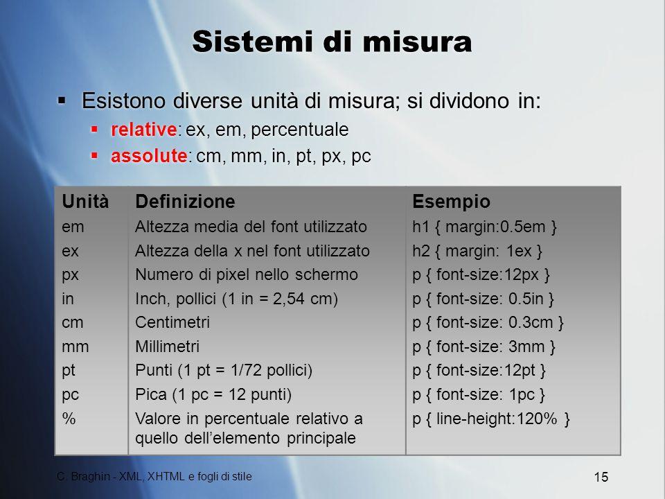 Sistemi di misura Esistono diverse unità di misura; si dividono in: