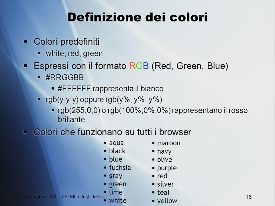 Definizione dei colori