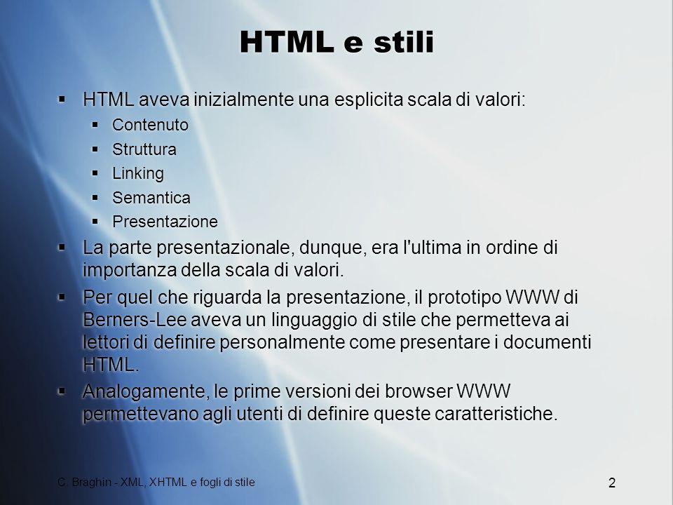 HTML e stili HTML aveva inizialmente una esplicita scala di valori:
