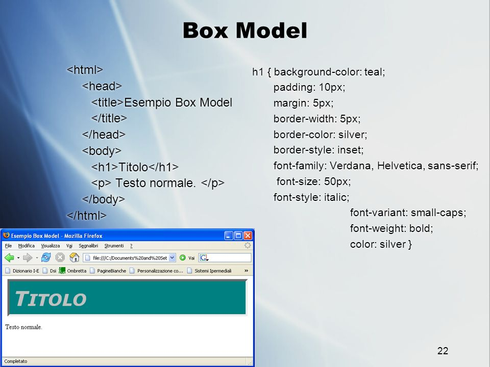 Box Model <html> <head> <title>Esempio Box Model