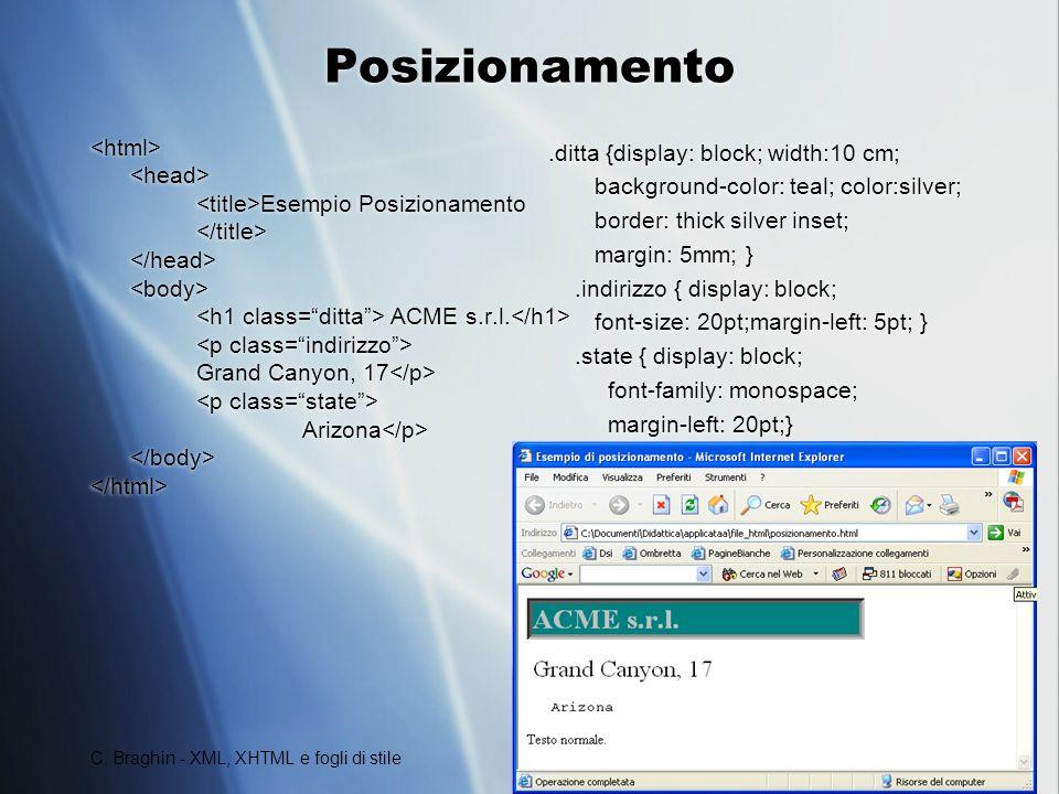 Posizionamento <html> <head>