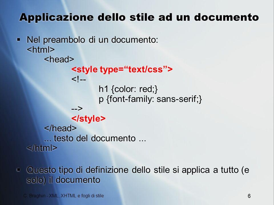 Applicazione dello stile ad un documento