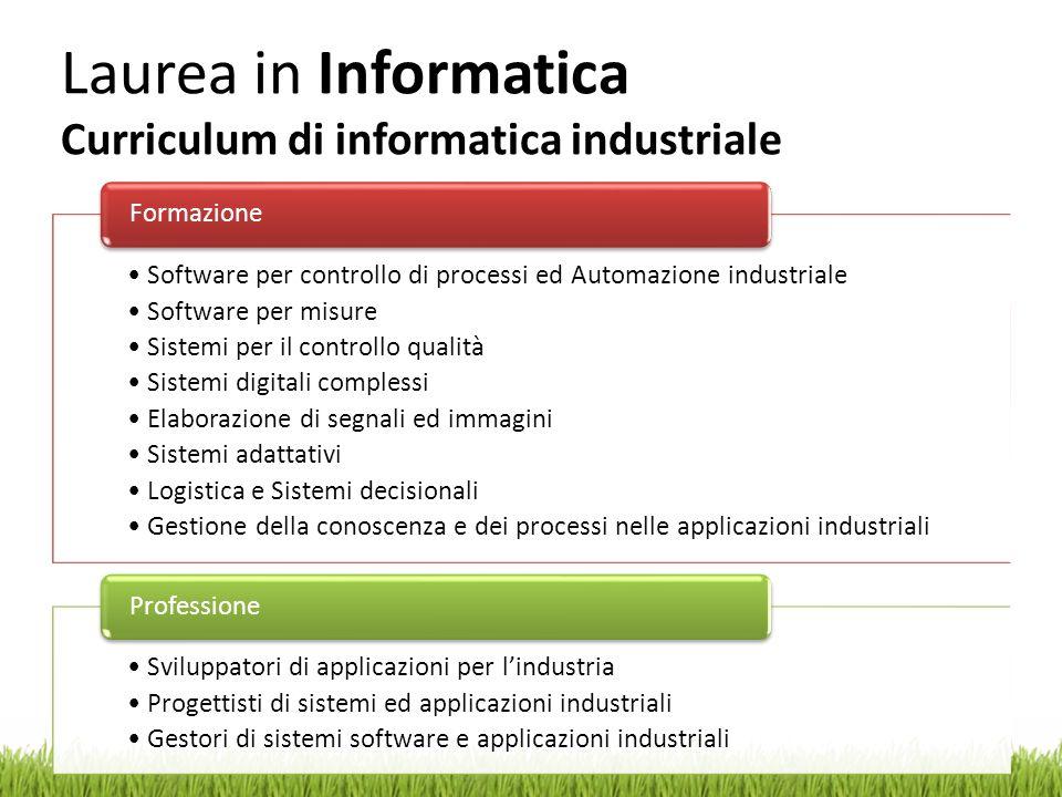 Laurea in Informatica Curriculum di informatica industriale