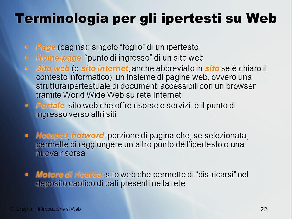 Terminologia per gli ipertesti su Web