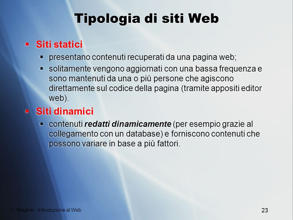Tipologia di siti Web Siti statici Siti dinamici