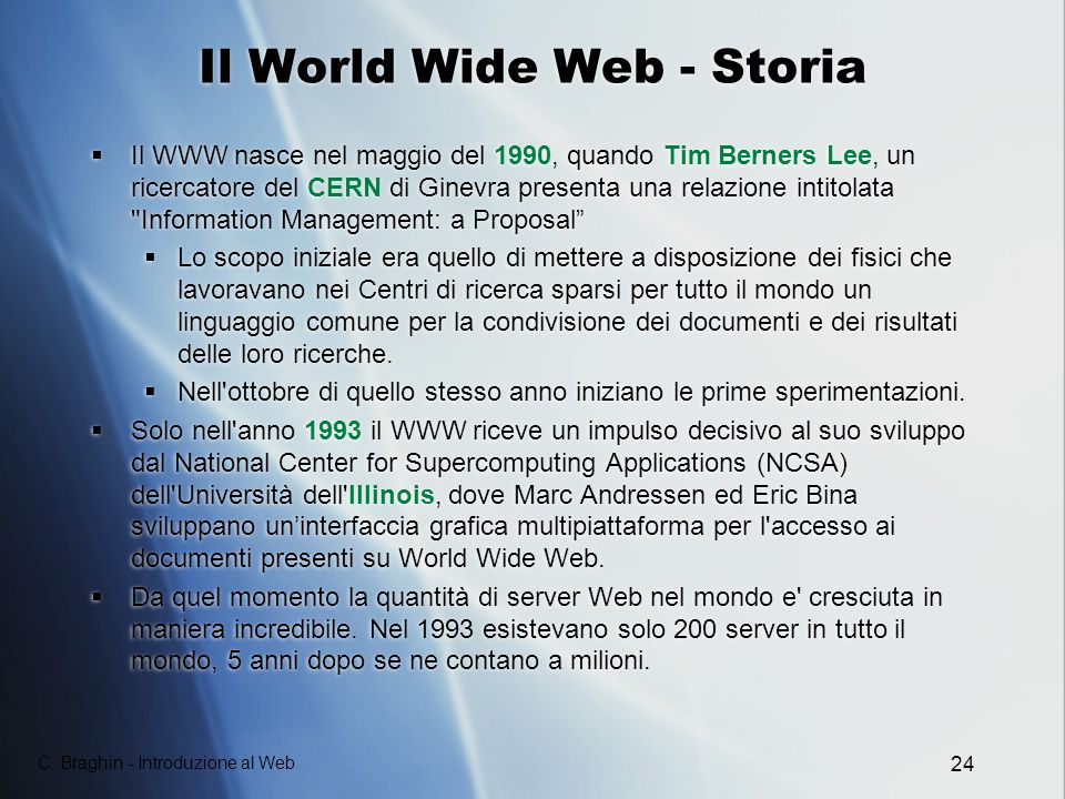 Il World Wide Web - Storia