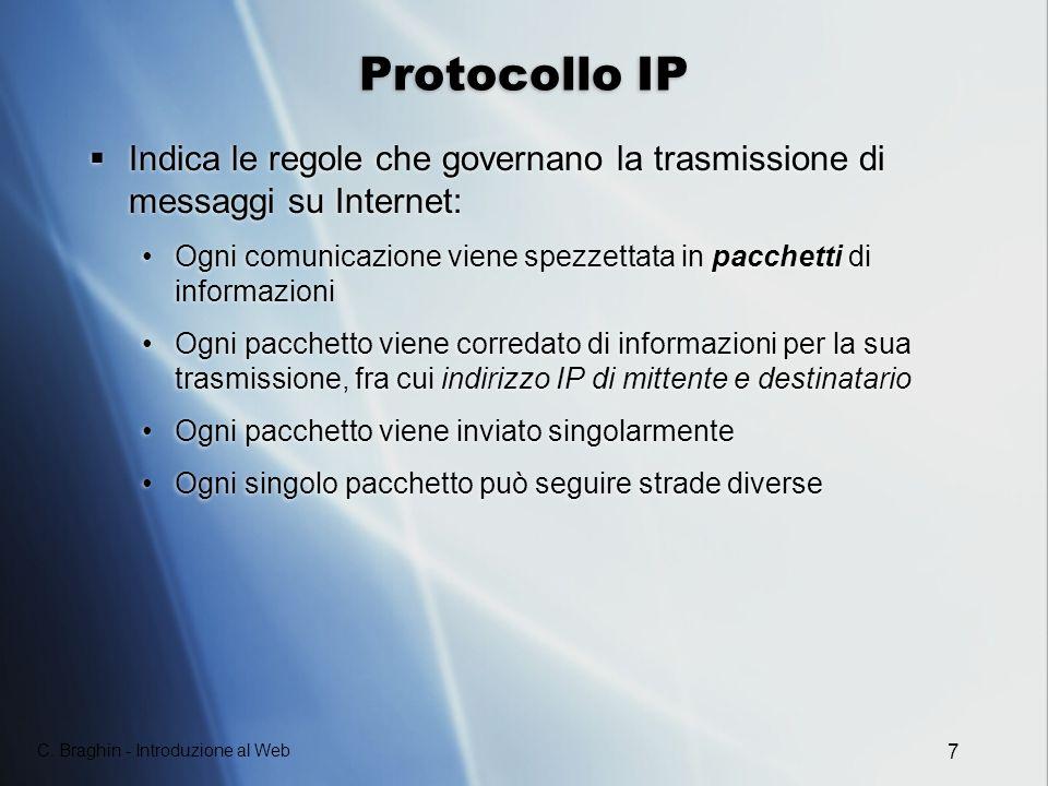 Protocollo IP Indica le regole che governano la trasmissione di messaggi su Internet: