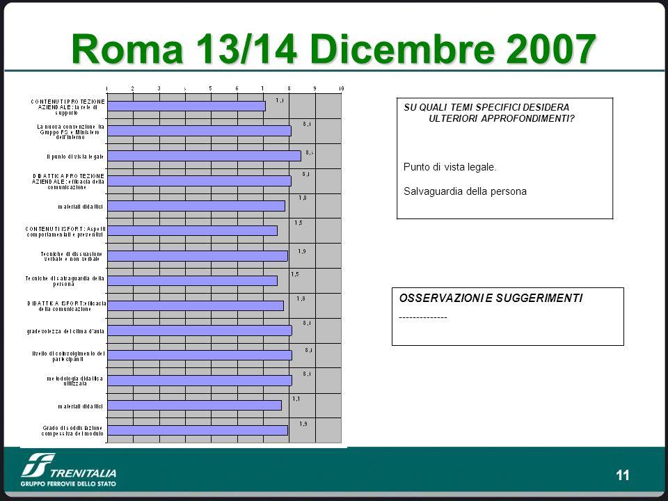 Roma 13/14 Dicembre 2007 OSSERVAZIONI E SUGGERIMENTI