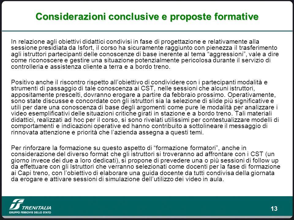 Considerazioni conclusive e proposte formative