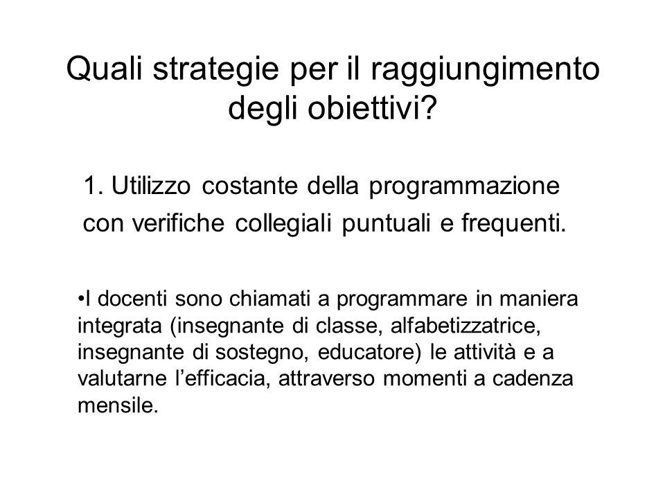 Quali strategie per il raggiungimento degli obiettivi
