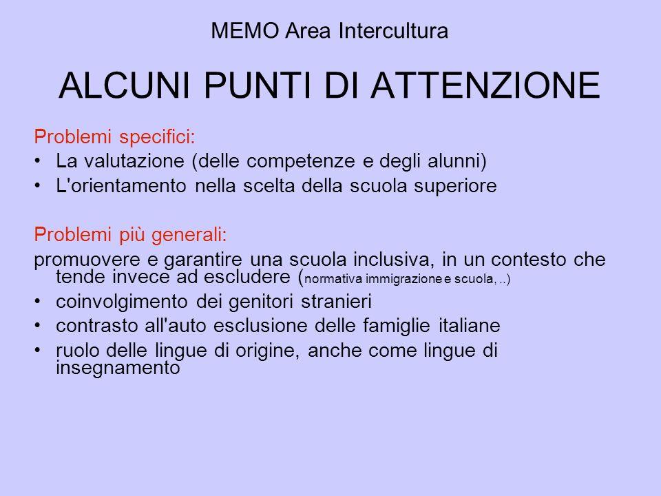 MEMO Area Intercultura ALCUNI PUNTI DI ATTENZIONE
