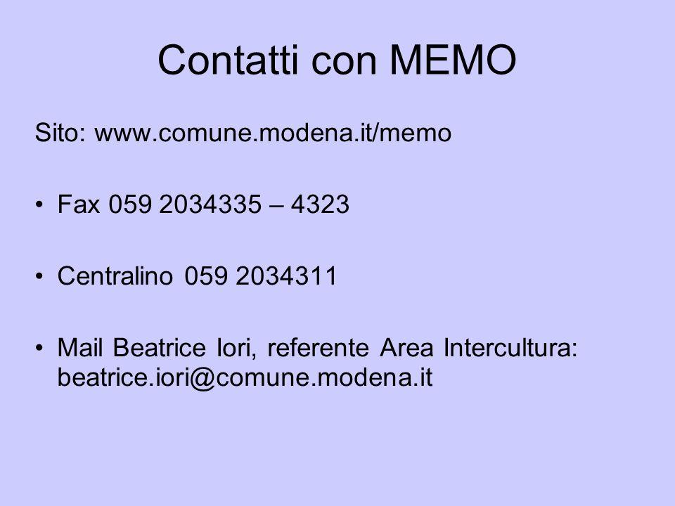 Contatti con MEMO Sito: www.comune.modena.it/memo