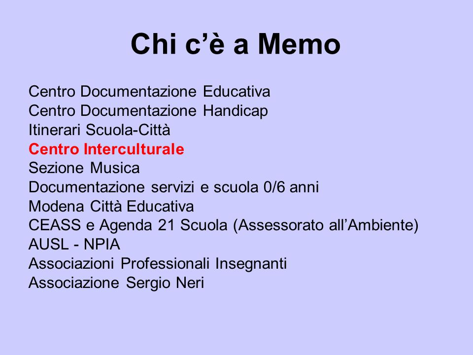 Chi c'è a Memo Centro Documentazione Educativa