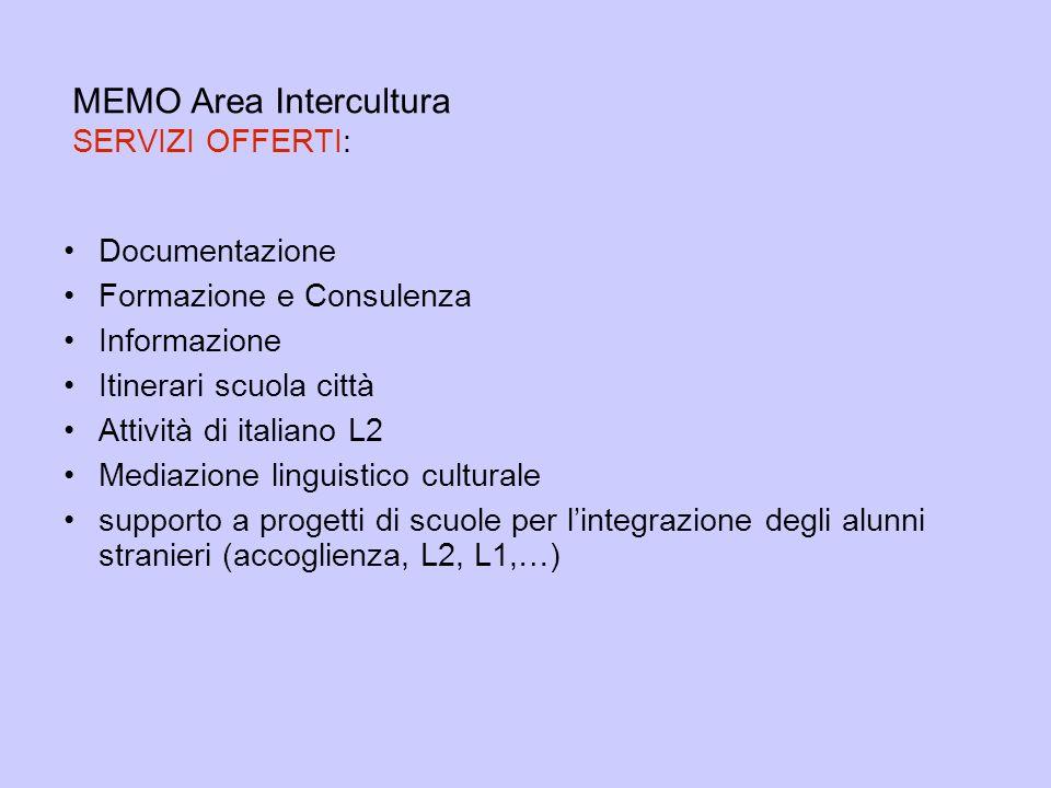 MEMO Area Intercultura SERVIZI OFFERTI: