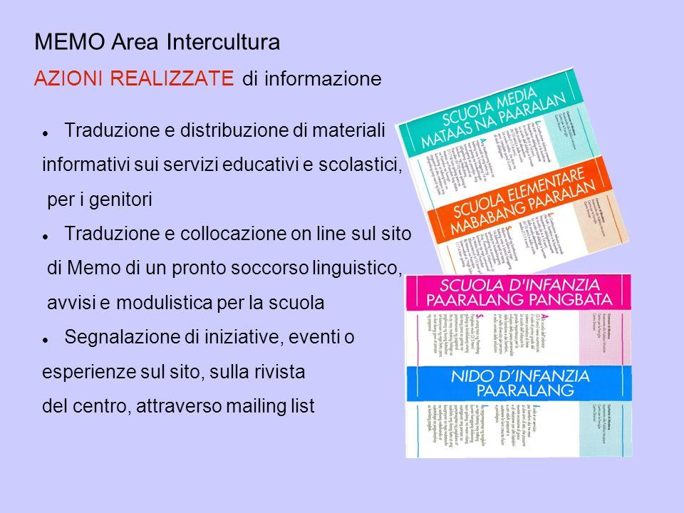 MEMO Area Intercultura AZIONI REALIZZATE di informazione