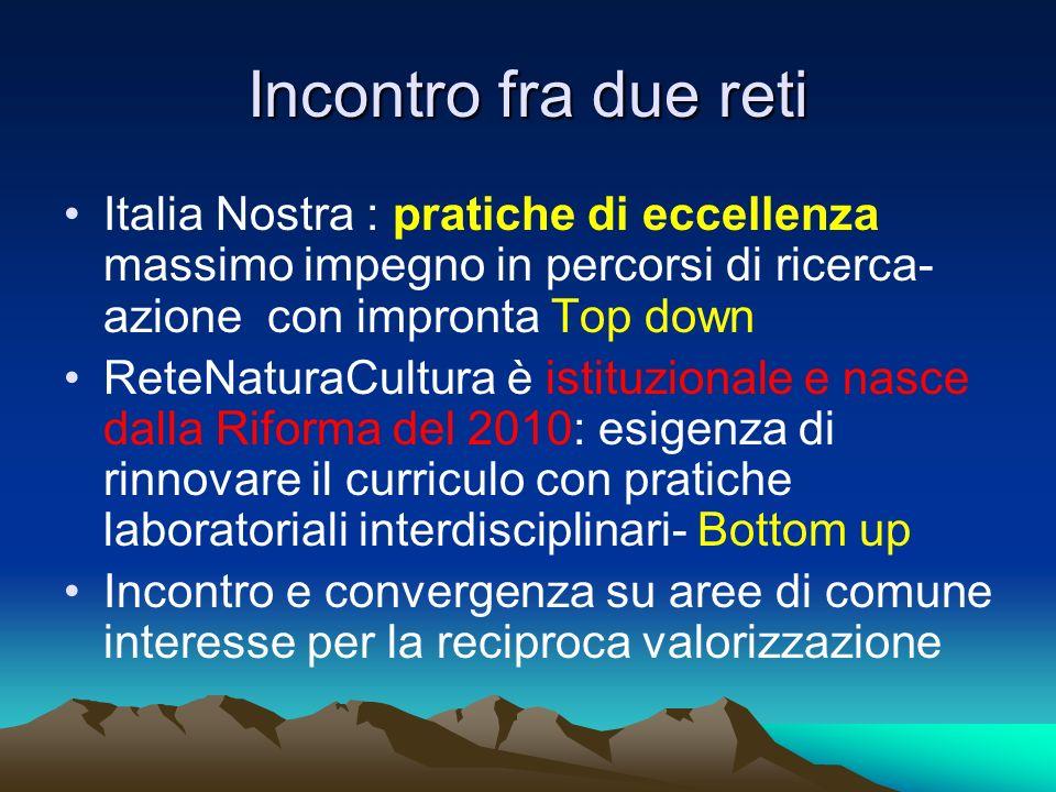 Incontro fra due reti Italia Nostra : pratiche di eccellenza massimo impegno in percorsi di ricerca- azione con impronta Top down.