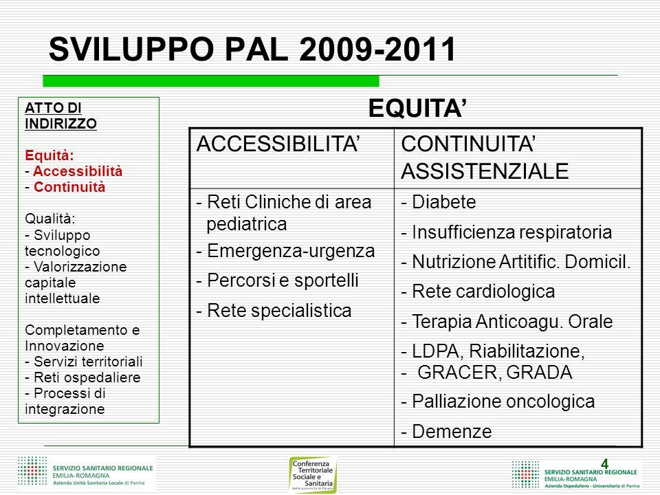 SVILUPPO PAL 2009-2011 EQUITA' ACCESSIBILITA'