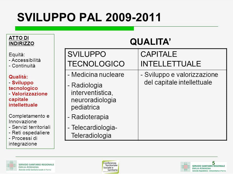 SVILUPPO PAL 2009-2011 QUALITA' SVILUPPO TECNOLOGICO