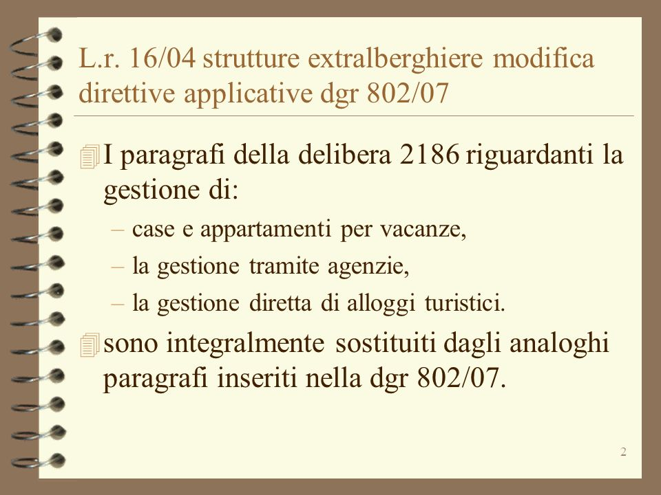 I paragrafi della delibera 2186 riguardanti la gestione di: