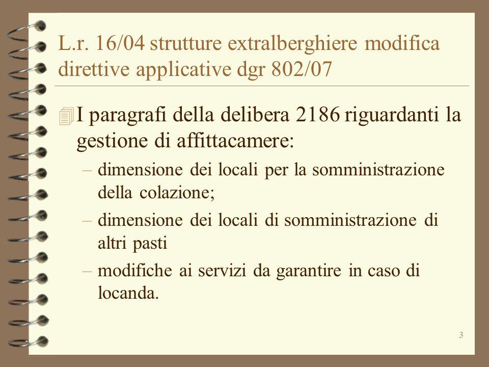 L.r. 16/04 strutture extralberghiere modifica direttive applicative dgr 802/07