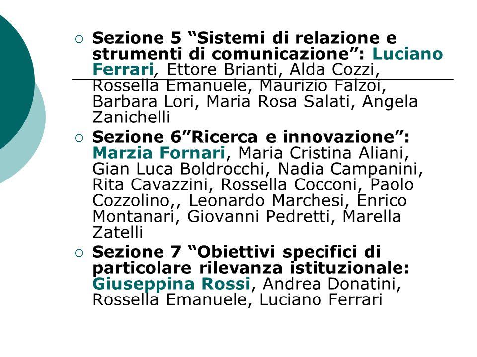 Sezione 5 Sistemi di relazione e strumenti di comunicazione : Luciano Ferrari, Ettore Brianti, Alda Cozzi, Rossella Emanuele, Maurizio Falzoi, Barbara Lori, Maria Rosa Salati, Angela Zanichelli