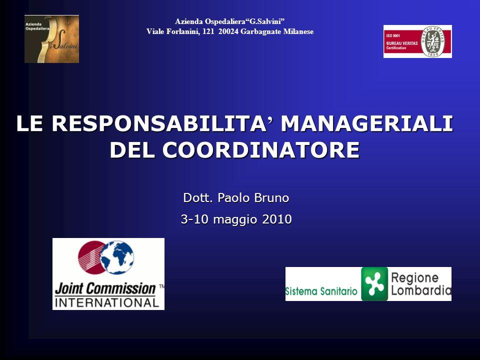 LE RESPONSABILITA' MANAGERIALI DEL COORDINATORE