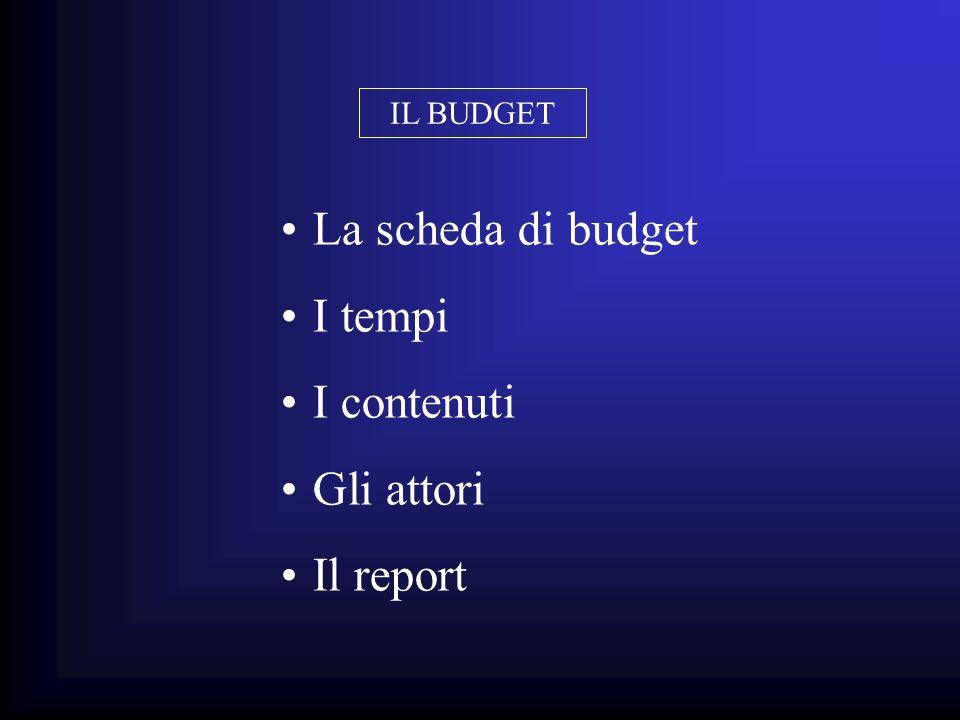 IL BUDGET La scheda di budget I tempi I contenuti Gli attori Il report