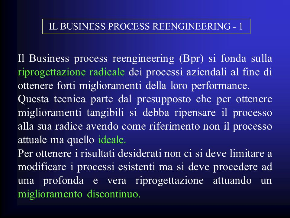 IL BUSINESS PROCESS REENGINEERING - 1