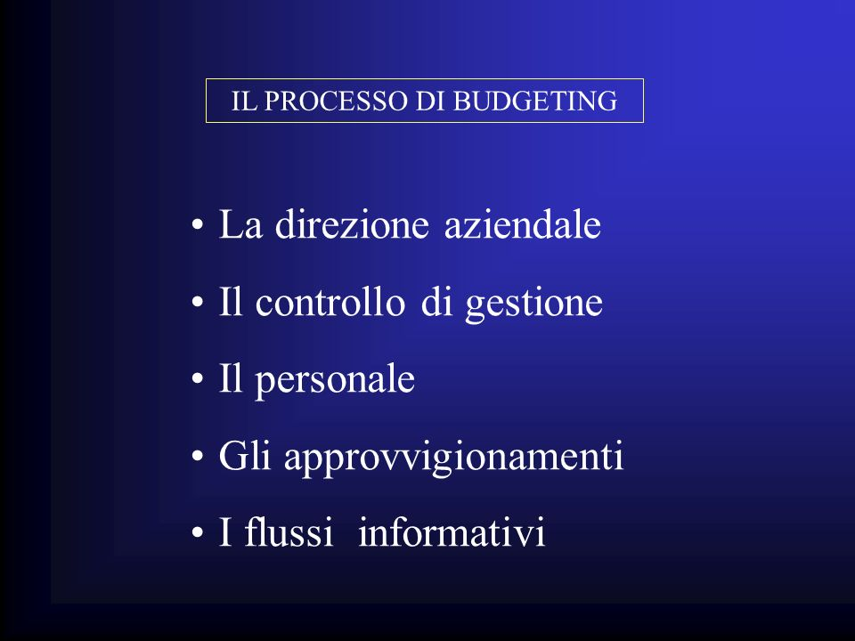 IL PROCESSO DI BUDGETING