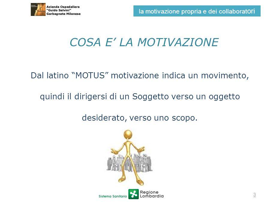 la motivazione propria e dei collaboratori