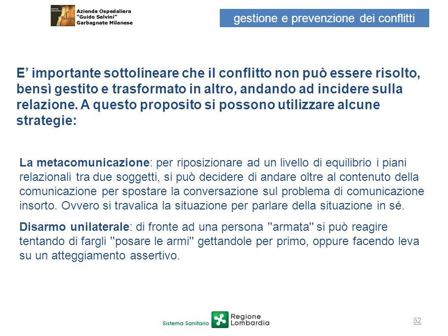 gestione e prevenzione dei conflitti