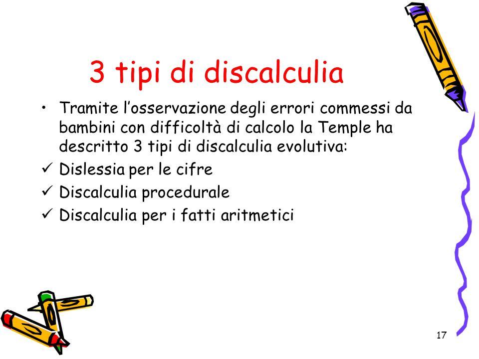 3 tipi di discalculia