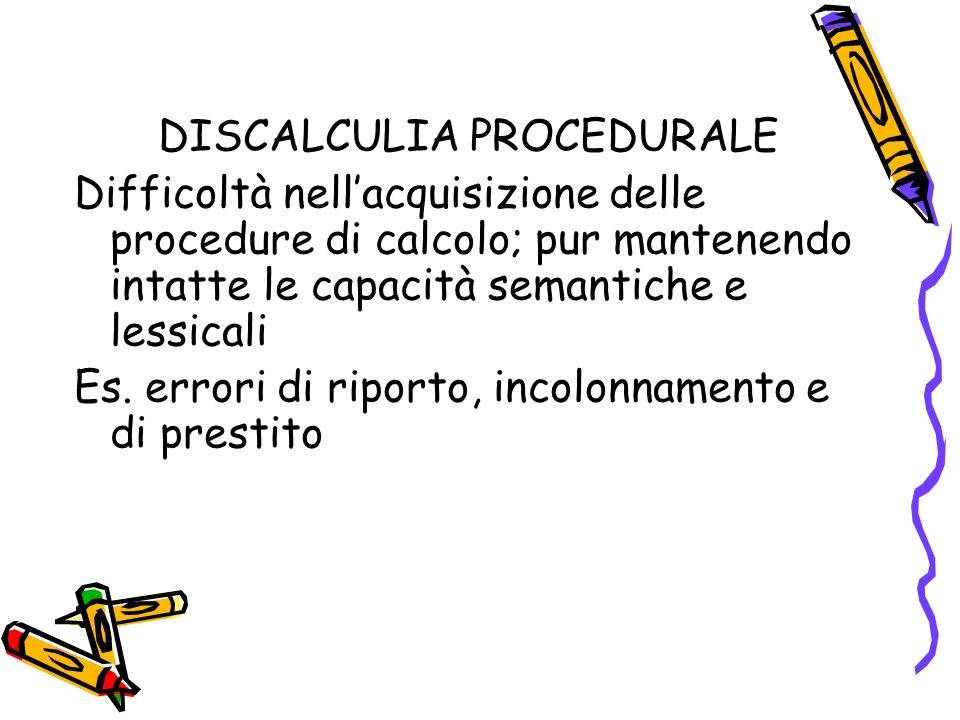 DISCALCULIA PROCEDURALE