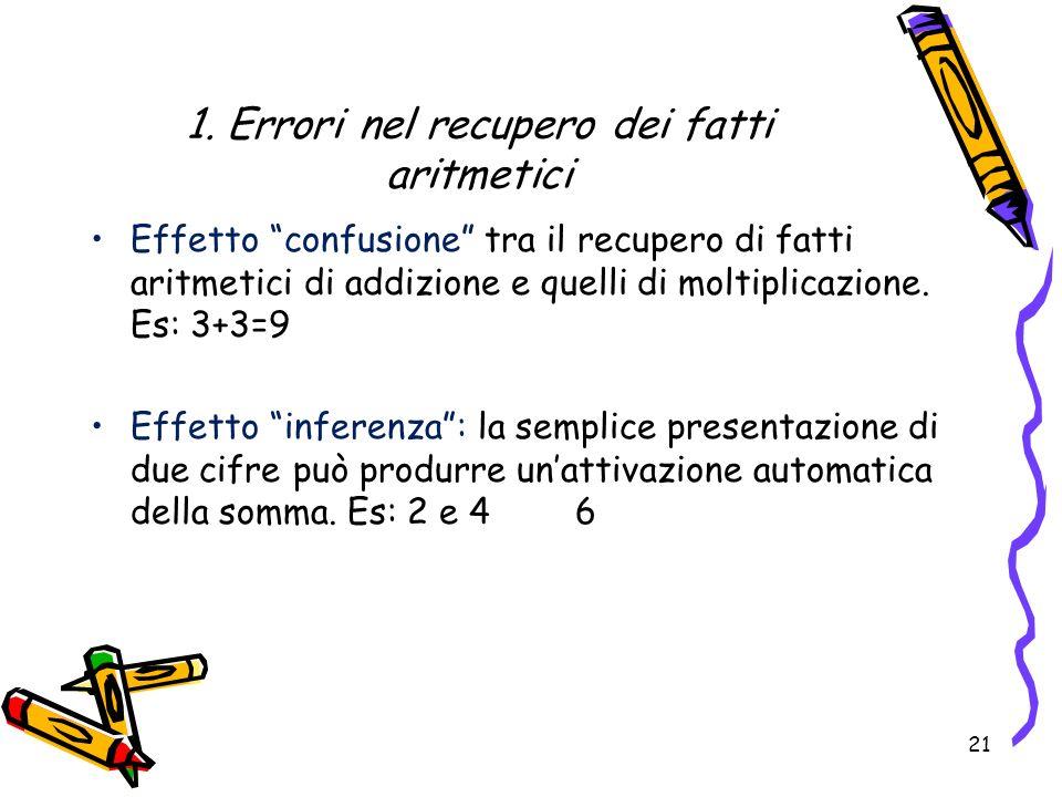 1. Errori nel recupero dei fatti aritmetici