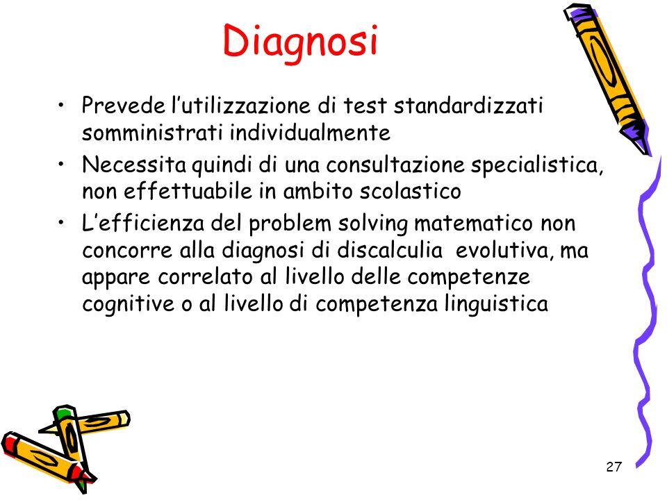 Diagnosi Prevede l'utilizzazione di test standardizzati somministrati individualmente.