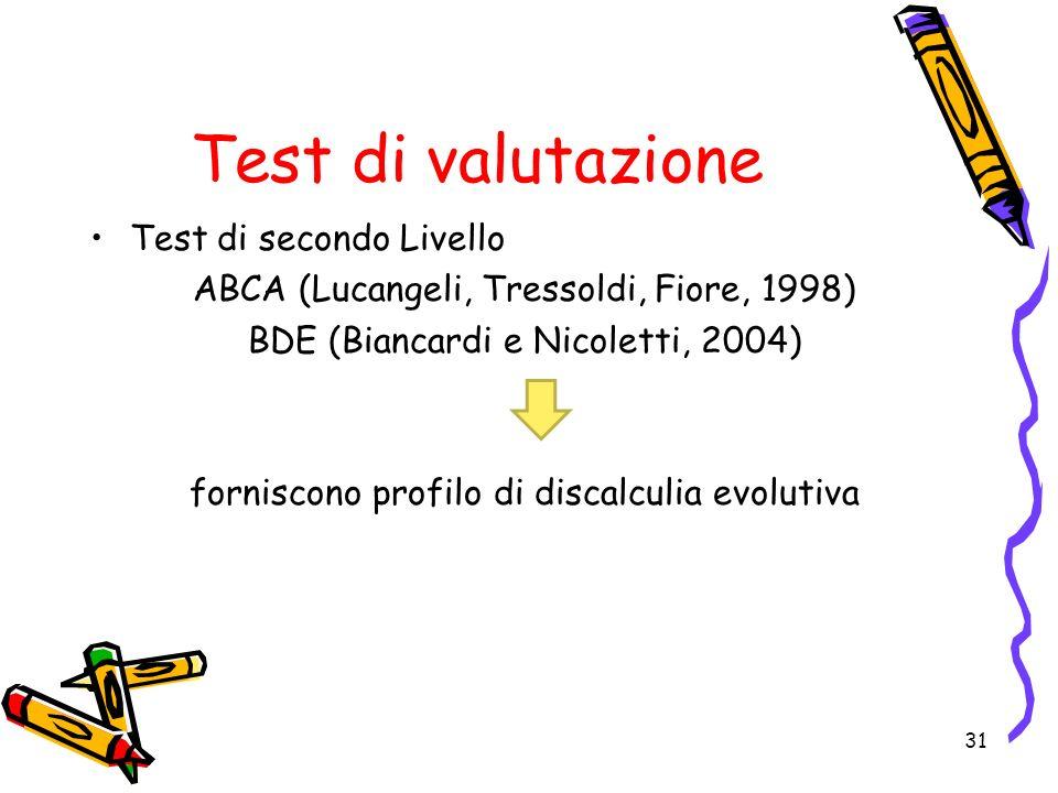 Test di valutazione Test di secondo Livello