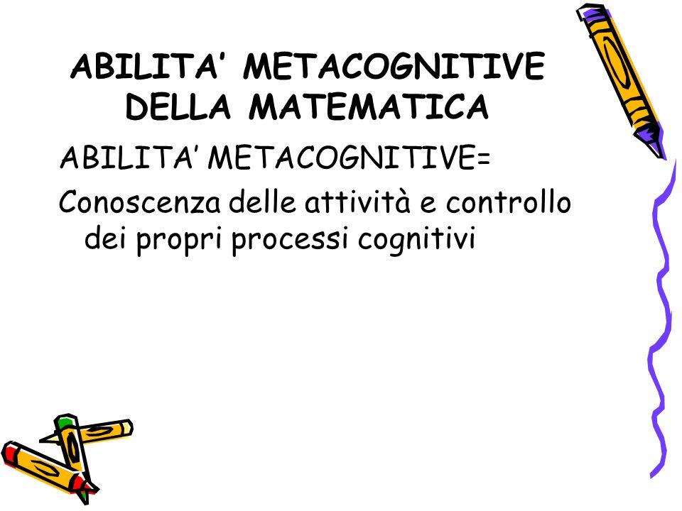 ABILITA' METACOGNITIVE DELLA MATEMATICA