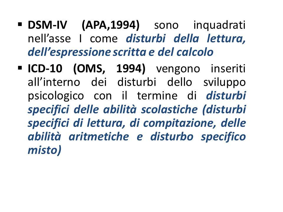 DSM-IV (APA,1994) sono inquadrati nell'asse I come disturbi della lettura, dell'espressione scritta e del calcolo