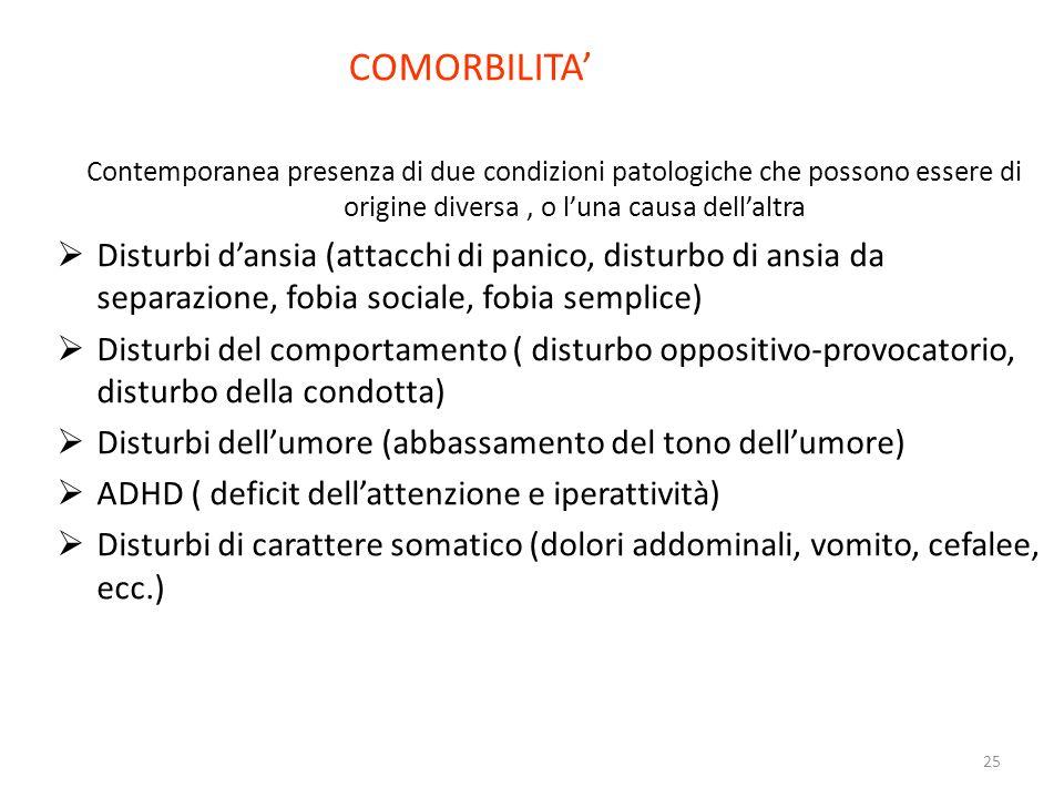 COMORBILITA' Contemporanea presenza di due condizioni patologiche che possono essere di origine diversa , o l'una causa dell'altra.