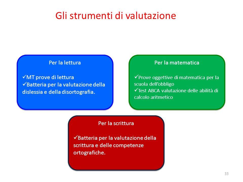 Gli strumenti di valutazione