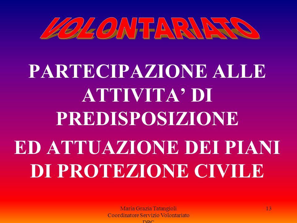 PARTECIPAZIONE ALLE ATTIVITA' DI PREDISPOSIZIONE