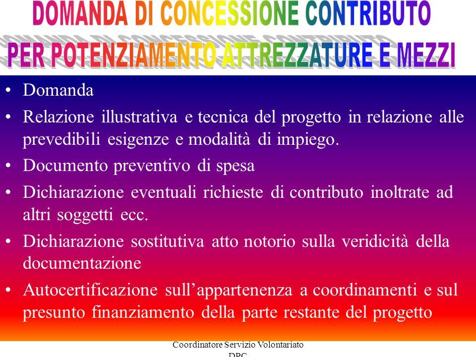 DOMANDA DI CONCESSIONE CONTRIBUTO