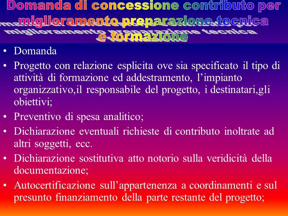 Domanda di concessione contributo per