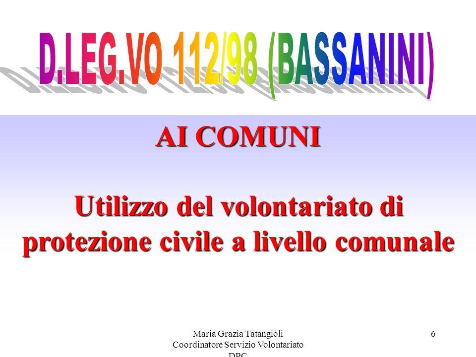 Utilizzo del volontariato di protezione civile a livello comunale