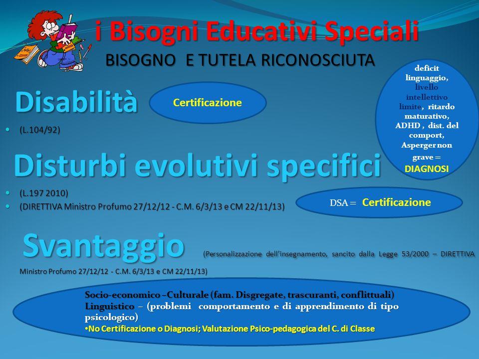 i Bisogni Educativi Speciali BISOGNO E TUTELA RICONOSCIUTA