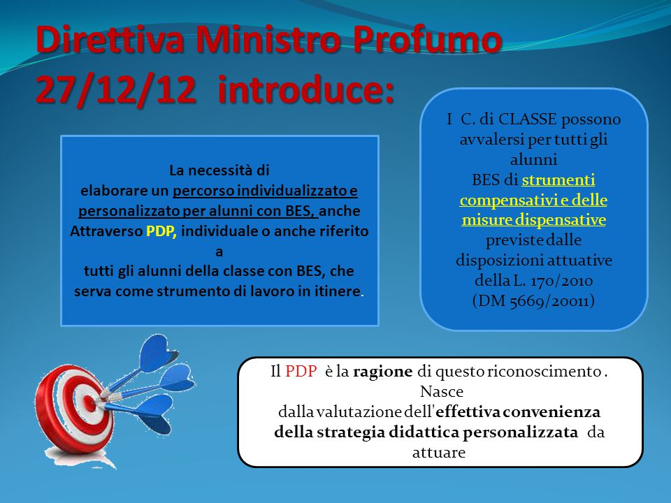 Direttiva Ministro Profumo 27/12/12 introduce: