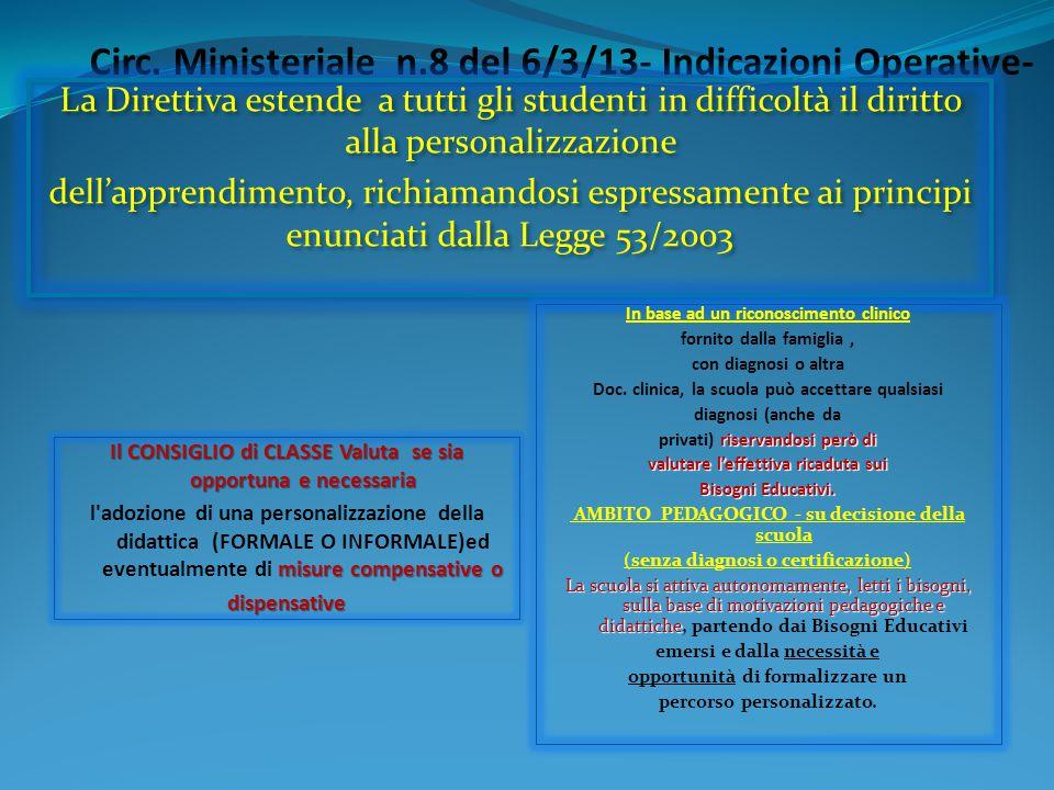 Circ. Ministeriale n.8 del 6/3/13- Indicazioni Operative-