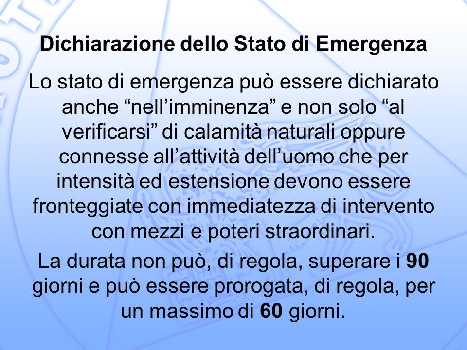Dichiarazione dello Stato di Emergenza